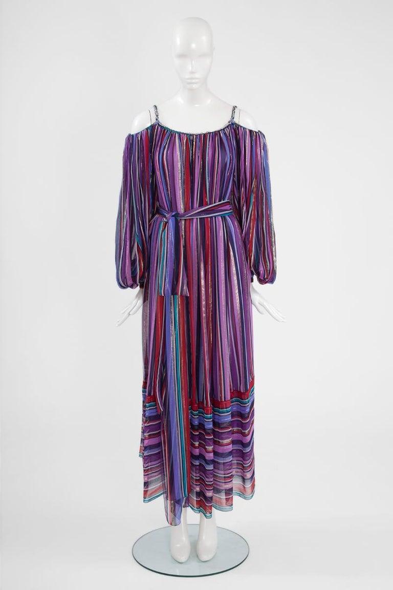 Christian Dior Cold-Shoulder Silk Chiffon Bayadere Dress, Circa 1978 For Sale 4