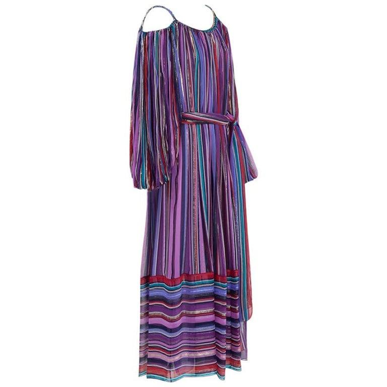 Christian Dior Cold-Shoulder Silk Chiffon Bayadere Dress, Circa 1978 For Sale
