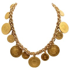 Christian Dior Collectible Coins Necklace 1980's