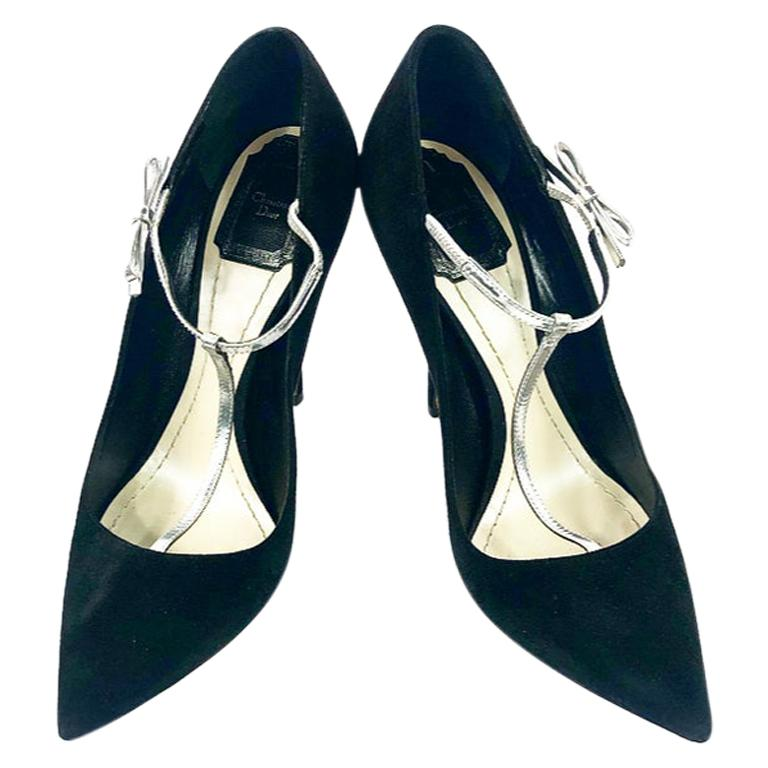 Christian Dior COQUETTE Pump 10mm Black Suede w/ Silver Leather Bow Size 38 For Sale