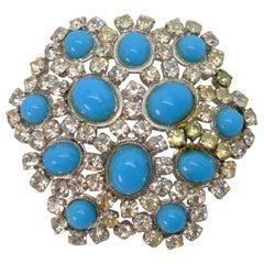 Christian Dior Costume Turquoise Rhinestone Floral Burst Brooch