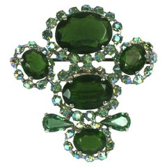Christian Dior Couture Olivine Crystal Brooch