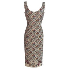 Christian Dior Cream Floral Needle Point Print Maxi Dress