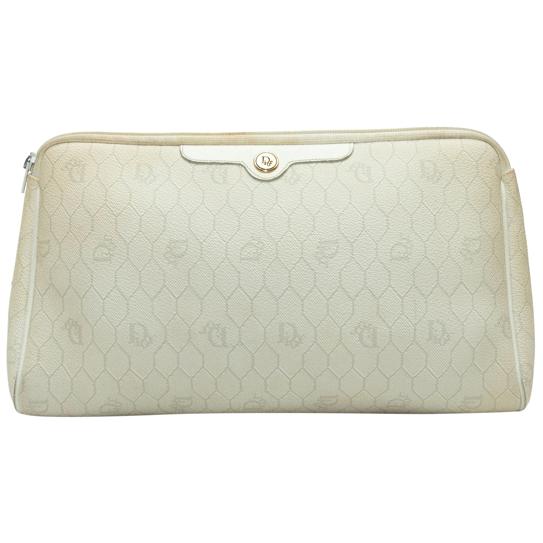 Christian Dior Cream Leather Logo Print Clutch