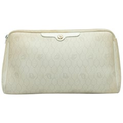 Christian Dior Cream Leather Logo Print Clutch
