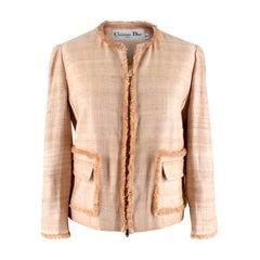 Christian Dior Cream Silk & Linen Blend Collarless Jacket - Size US 6