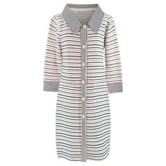Christian Dior Cream Striped Longline Knit Coat - Size US 8