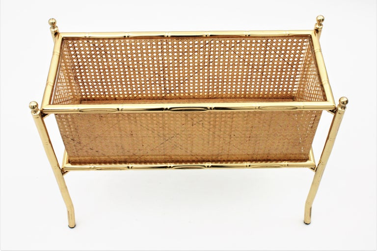 Christian Dior Crespi Style Faux Bamboo Brass, Rattan and Lucite Planter / Stand For Sale 4