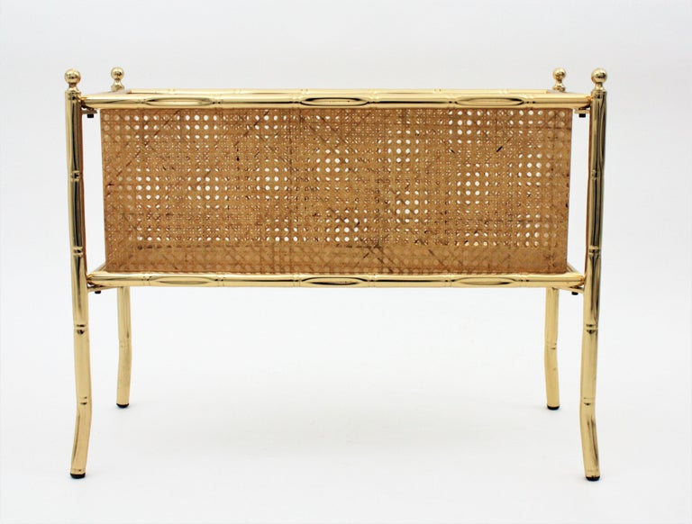 Christian Dior Crespi Style Faux Bamboo Brass, Rattan and Lucite Planter / Stand For Sale 5