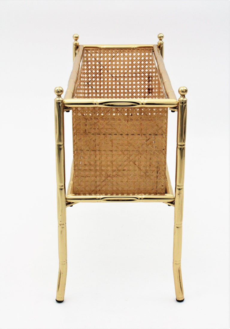 Christian Dior Crespi Style Faux Bamboo Brass, Rattan and Lucite Planter / Stand For Sale 6