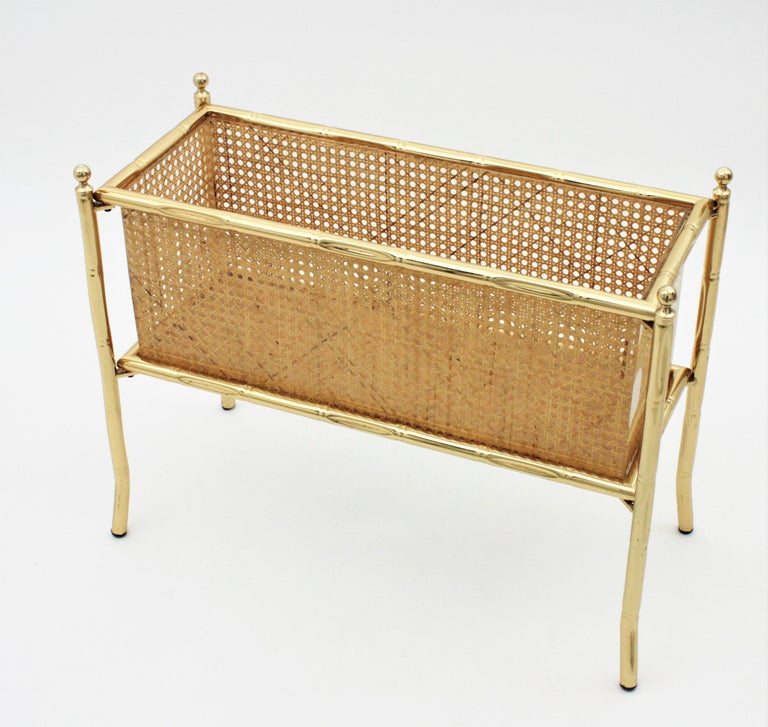 Christian Dior Crespi Style Faux Bamboo Brass, Rattan and Lucite Planter / Stand For Sale 7