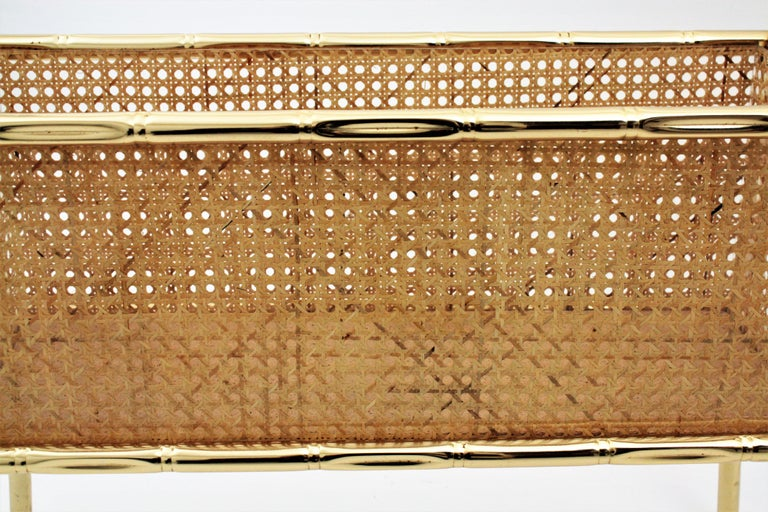 Christian Dior Crespi Style Faux Bamboo Brass, Rattan and Lucite Planter / Stand For Sale 10