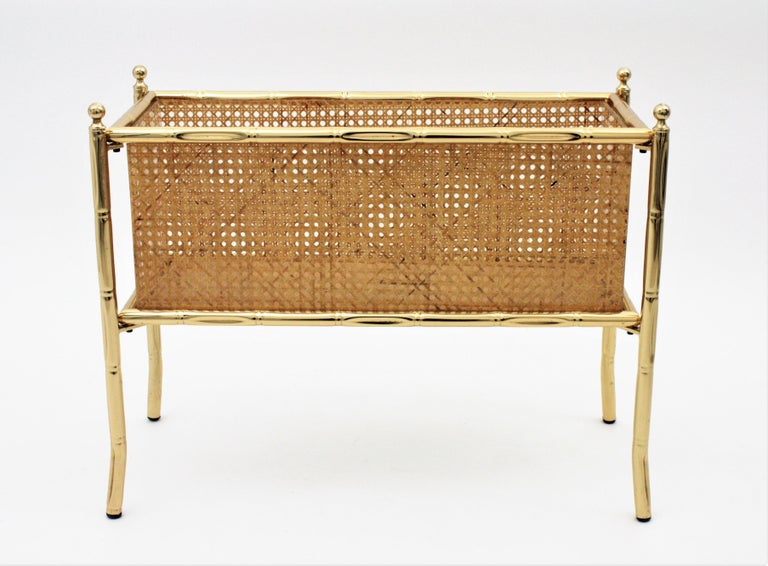 Mid-Century Modern Christian Dior Crespi Style Faux Bamboo Brass, Rattan and Lucite Planter / Stand For Sale