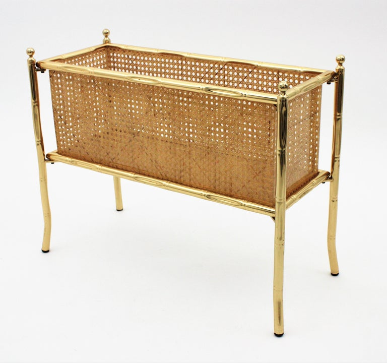 Polished Christian Dior Crespi Style Faux Bamboo Brass, Rattan and Lucite Planter / Stand For Sale
