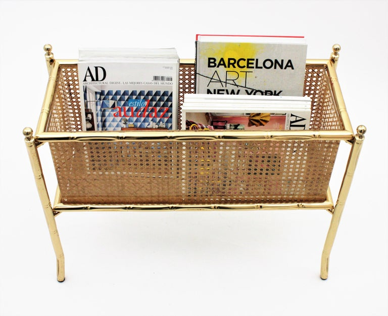 20th Century Christian Dior Crespi Style Faux Bamboo Brass, Rattan and Lucite Planter / Stand For Sale