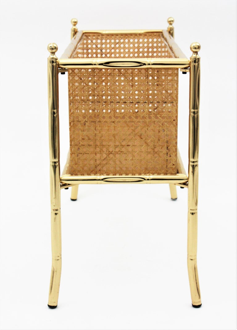 Christian Dior Crespi Style Faux Bamboo Brass, Rattan and Lucite Planter / Stand For Sale 2