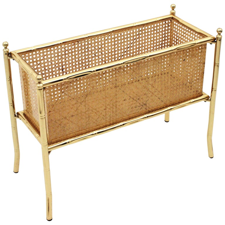 Christian Dior Crespi Style Faux Bamboo Brass, Rattan and Lucite Planter / Stand For Sale