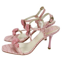 Christian Dior Crocodile Embossed Dusty Pink T-Strap Bow Sandals It 36 -  US 6
