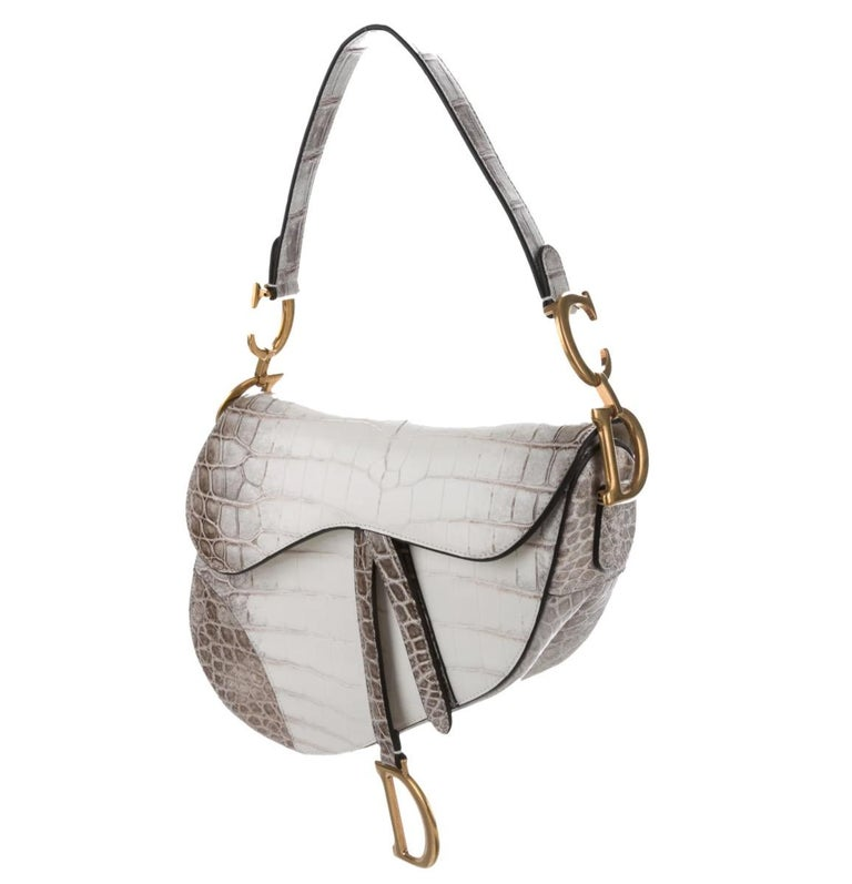 Crocodile Porosus Leather trim Gold tone hardware Magnetic closure Suede lining Made in Italy Shoulder strap drop 7