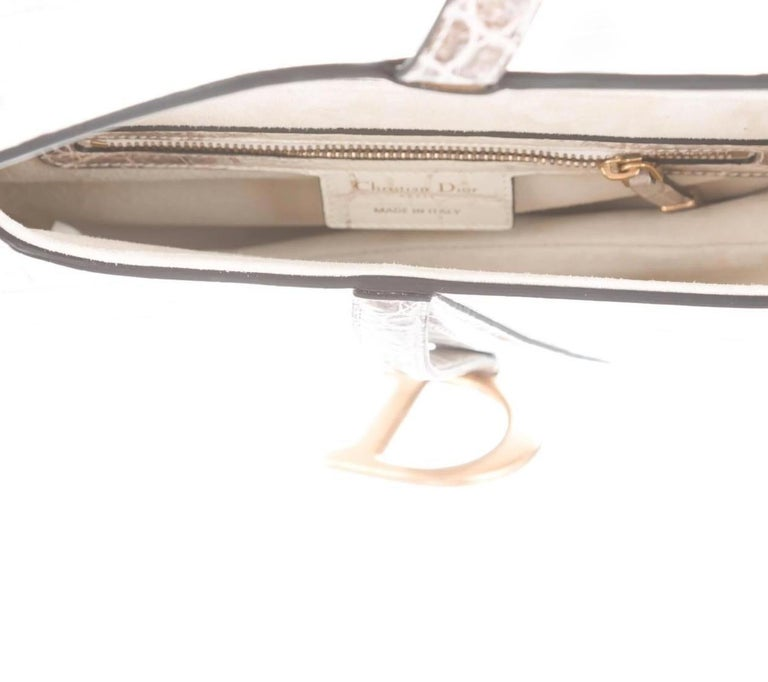Women's Christian Dior Crocodile Exotic Leather Gold 'D' Logo Charm Shoulder Bag in Box For Sale