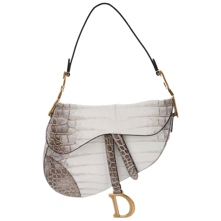 Christian Dior Crocodile Exotic Leather Gold 'D' Logo Charm Shoulder Bag in Box For Sale
