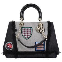 Christian Dior D-Light Bag Patch Embellished Denim Large