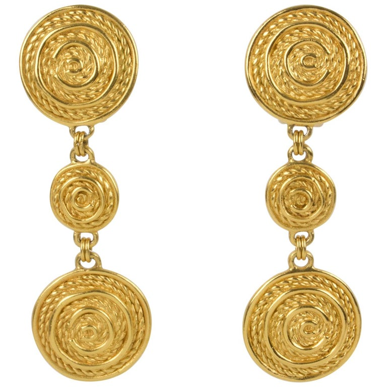 Christian Dior Dangling Textured Clip Earrings