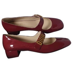 Christian Dior Dark Red Patent Leather Pumps