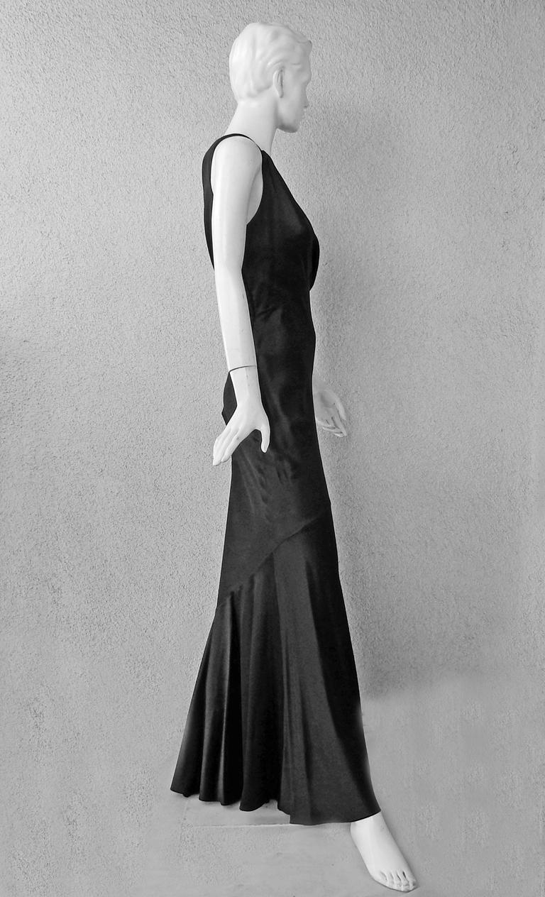 Christian Dior Deco Inspired Rich Black Bias Cut Gown For Sale 1