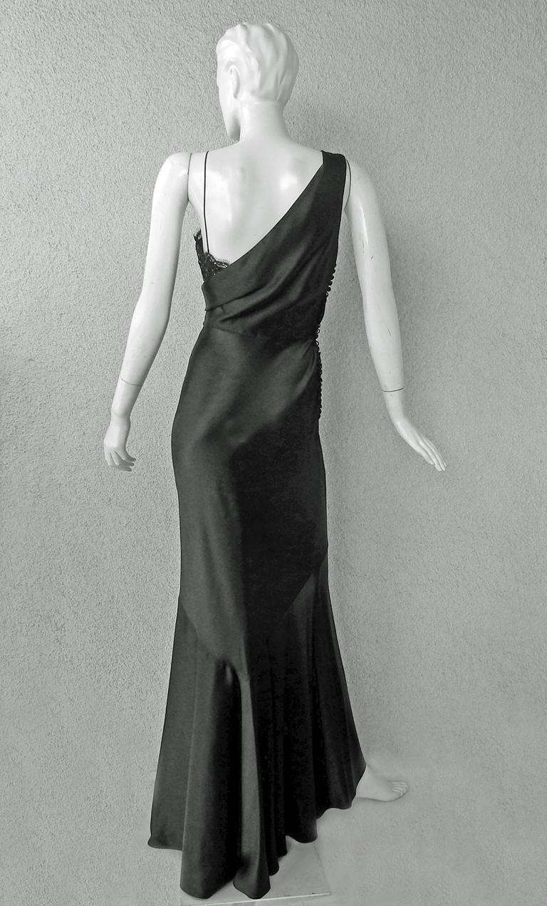 Christian Dior Deco Inspired Rich Black Bias Cut Gown For Sale 2