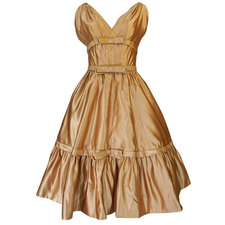 Christian Dior Demi-Couture Gold Bow Detailed Silk Dress, 1957 For Sale