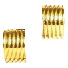 Christian Dior Demi-Hoop Gold Clip Earrings