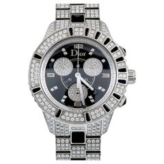 Christian Dior Diamond and Onyx Wristwatch