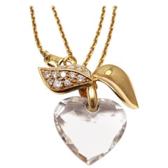 Christian Dior Diamond Crystal Yellow Gold Pendant Necklace