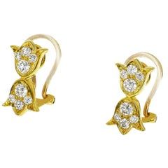 Christian Dior Diamond Earring 18 Karat Yellow Gold