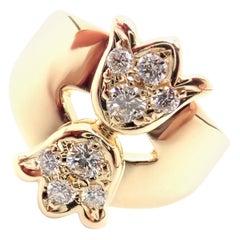 Christian Dior Diamond Flower Tulip Yellow Gold Band Ring