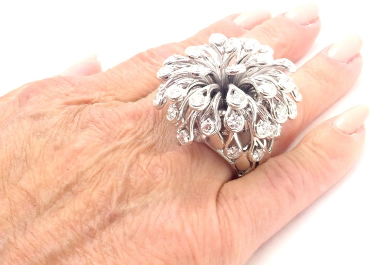 Christian Dior Diamond Large Flower White Gold Ring For Sale 5