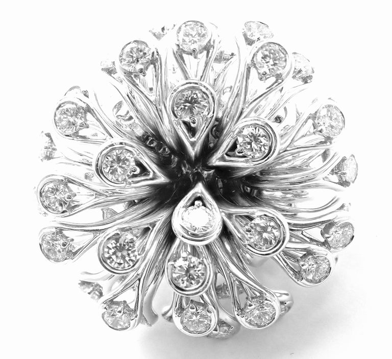 Christian Dior Diamond Large Flower White Gold Ring For Sale 7