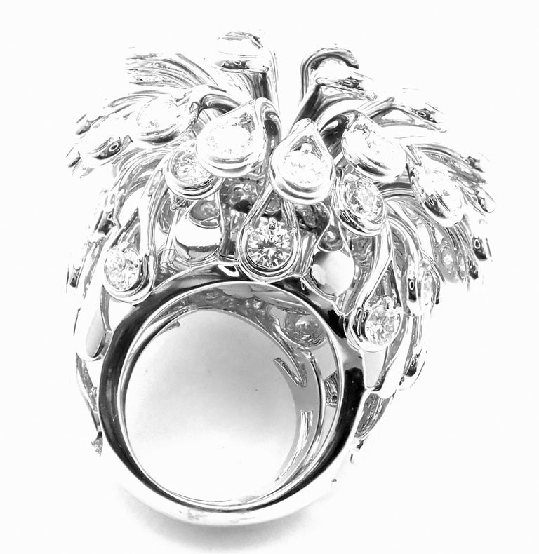 Brilliant Cut Christian Dior Diamond Large Flower White Gold Ring For Sale
