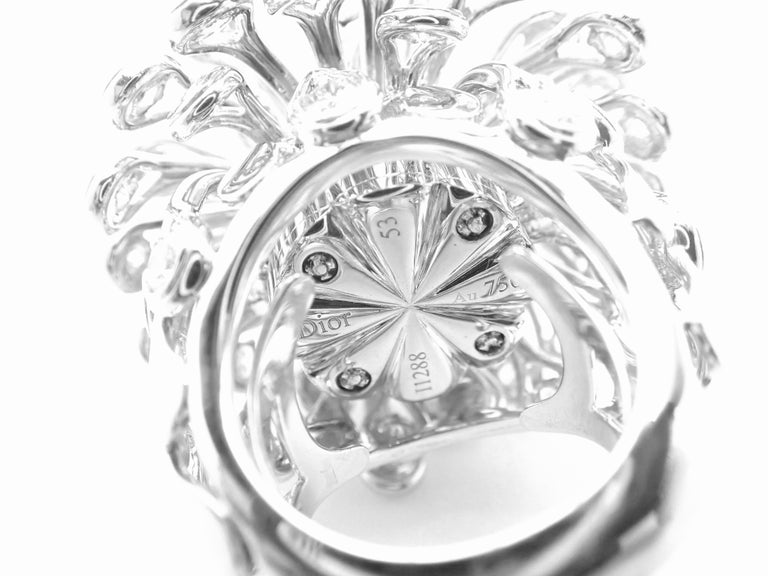 Christian Dior Diamond Large Flower White Gold Ring For Sale 2