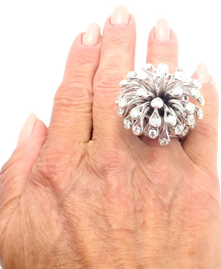 Christian Dior Diamond Large Flower White Gold Ring For Sale 4