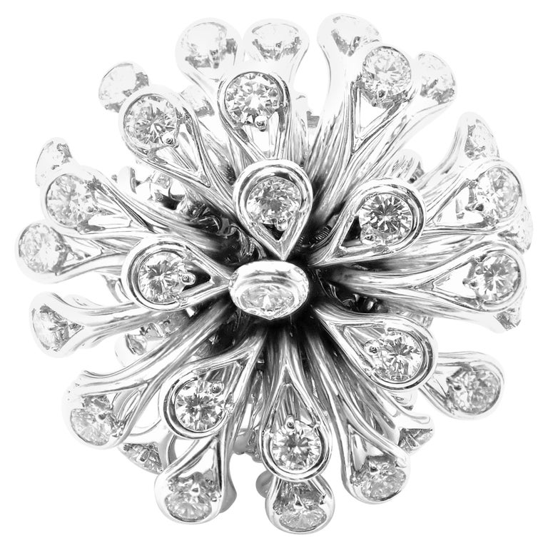 Christian Dior Diamond Large Flower White Gold Ring For Sale