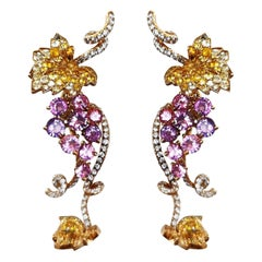 Christian Dior Diamond Pink and Yellow Sapphire on Yellow Gold Earrings