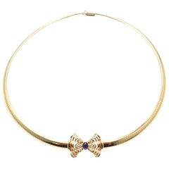 Christian Dior Diamond Sapphire Bow Yellow Gold Necklace