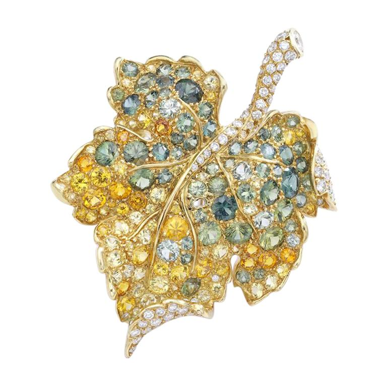 Christian Dior Diamond Sapphire Brooch For Sale