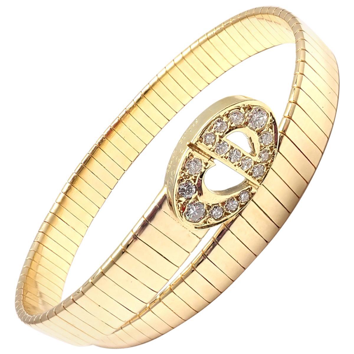 Christian Dior Diamond Snake Coil Yellow Gold Bracelet