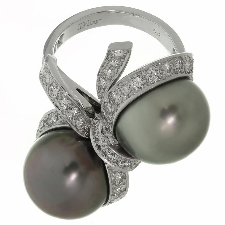 Women's Christian Dior Diamond Tahitian Pearl White Gold Caprice Ring For Sale