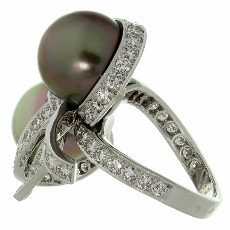 Christian Dior Diamond Tahitian Pearl White Gold Caprice Ring For Sale 1