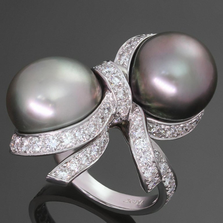 Christian Dior Diamond Tahitian Pearl White Gold Caprice Ring For Sale 3