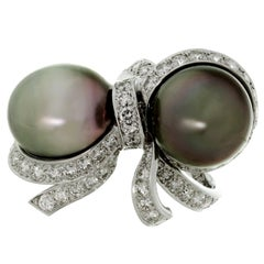 Christian Dior Diamond Tahitian Pearl White Gold Caprice Ring
